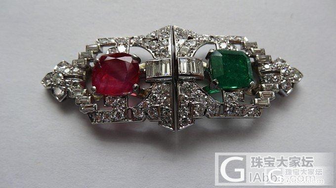 镶红绿宝石的钻石别针,可以拆开来成为两个吊坠。_吊坠红宝石古董首饰胸饰