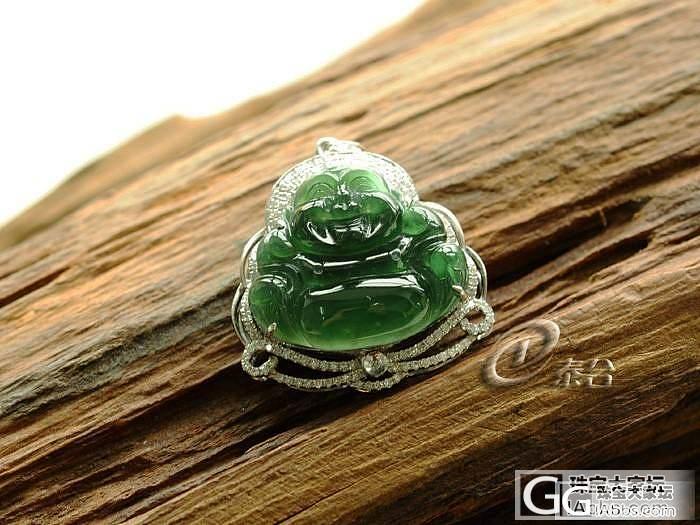 【璞玉阁】18K金镶钻的佛公,反绿水..._翡翠