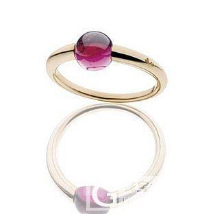 转宝曼兰朵款精致的R红碧玺糖果戒指_宝石